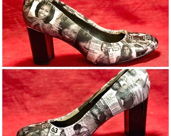 Michelle Obama Pumps Michelle Obama Collage Shoes Custom Pumps Custom  Decoupage Pumps Decoupage Shoes Pop Cultue Shoes 3761f47a9d6fd