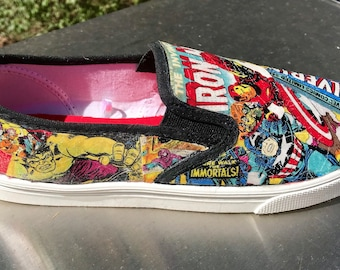 Marvel Superhero Shoes Comic Book Shoes Custom Sneakers Decoupage Shoes Superhero  Sneakers Superhero Vans Comic Book Vans fff9da0d2f024