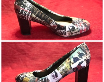 The Walking Dead Shoes  Character TV Show High Heels Custom Made High Heels Decoupage  Shoes Custom Made Cult TV Fan Shoes c9fbc0d3af087