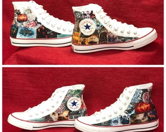 828ad57a94f Supernatural Converse Sneakers Supernatural Shoes Comic Book Shoes Cult TV  Show Shoes Custom Sneakers Modpodge Fabric Shoes