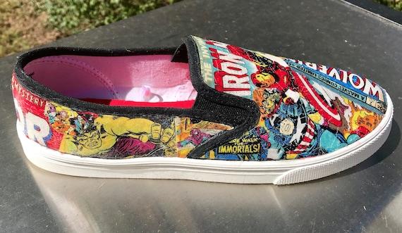 Marvel comic strip canvas shoe