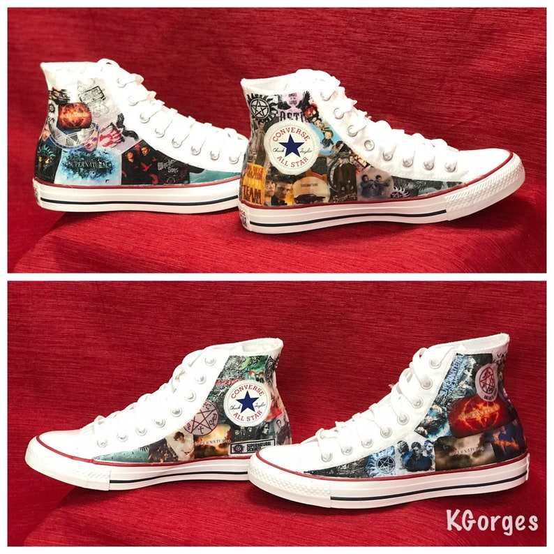 Supernatural Converse Sneakers Supernatural Shoes Comic Book Shoes ... a5e9b0a8881ad
