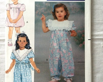 Vintage 1990 UNCUT New Butterick 4876 Girls Size 4, 5. and 6 Party Pants or Romper Pattern