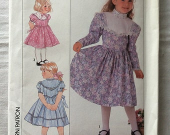 Vintage 1989 UNCUT New Simplicity 9438 Girls Size A 3, 4, 5. and 6 Dress in Two Lengths Pattern