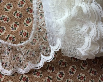 """Wide Off White Ruffle Lace Trim 2-1/4"""" wide x 3-7/8 yards long"""