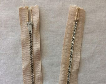 "Vintage New TEE Dress Zipper 23-1/2"" Metal Coil Beige"