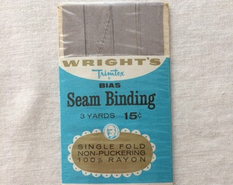"""Vintage New Gray Seam Binding Trim 7/16"""" wide x 3 yards long by Wrights 100% Rayon"""