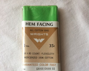 """Vintage New Cotton Hem Facing Trim 1-7/8"""" wide x 3 yards long by Wrights in Bright Green"""