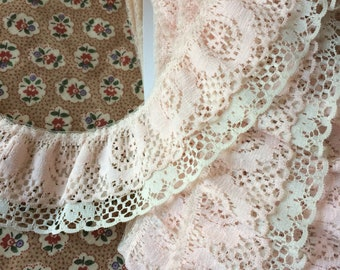 """Double Layer Peach and Beige Lace Trim 2"""" wide x 10 yards long"""