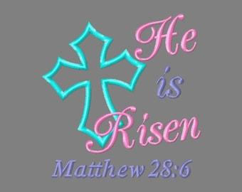 Buy 3 get 1 free! He is Risen, Matthew 28:6 applique embroidery design, Easter, Christian, Cross 4x4 5x7 6x10