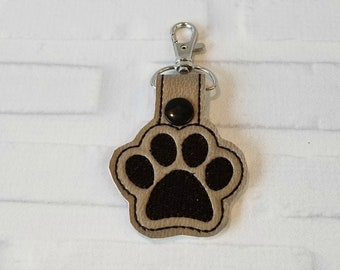 Paw Print Key Chain - Dog Tag - purse charm - luggage tag - dog owner gift