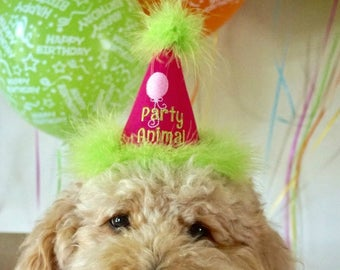 PARTY ANIMAL Dog Birthday Party HAT with balloon - Birthday Party Hat - Dog party accessories