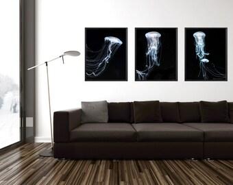 Triptych jellyfish 3 piece wall art, jellyfish printable triptych, downloadable art, bioluminescence, jellyfish three piece wall art