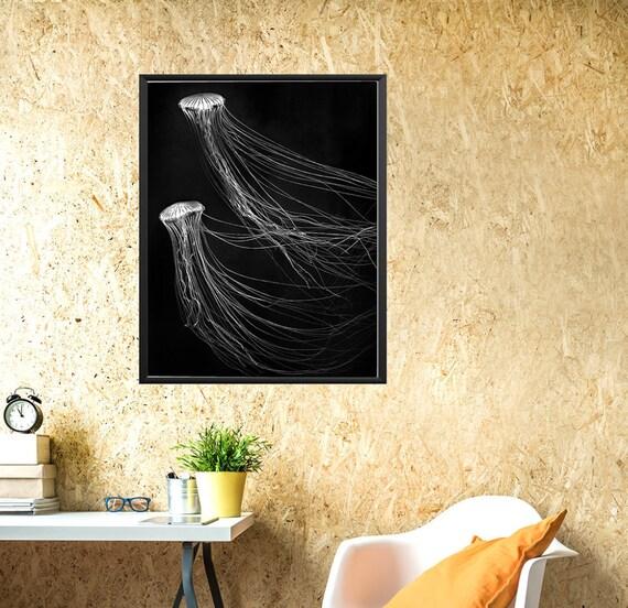 Black white jellyfish wall art jellyfish photograph minimal