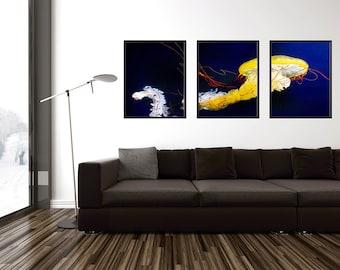 Triptych Jellyfish Wall Art, Yellow Jellyfish Triptych, 3 Piece Wall Art, Downloadable Art, Jellyfish Printable