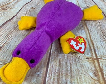 Vintage 1993 TY Patti the purple Platypus Plush Stuffed Animal the Original Beanie  Babies 9