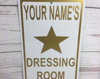 Custom Your Name Dressing Room Metal Fashion Sign