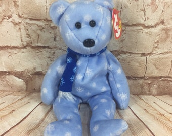 44405489816 Vintage 1999 TY Snowflake Holiday Teddy Bear Plush Stuffed Animal the  Original Beanie Babies 8