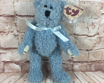 f16b01d8dc1 Vintage 1993 TY Attic Treasures Blueberry the Blue Bear Plush Stuffed Animal  Original Beanie Baby Jointed 8