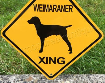 """NEW COLLIE XING Small Metal Caution Dog Sign Crossing 6""""x6"""""""