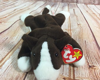 562d86a2769 Vintage 1997 TY Bruno the bulldog Dog Plush Stuffed Animal the Original  Beanie Babies 8