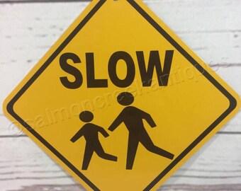 9x12 Metal Caution Free Range Children /& Animals Sign Drive Slowly Slow Neighbor Speeds Slower.