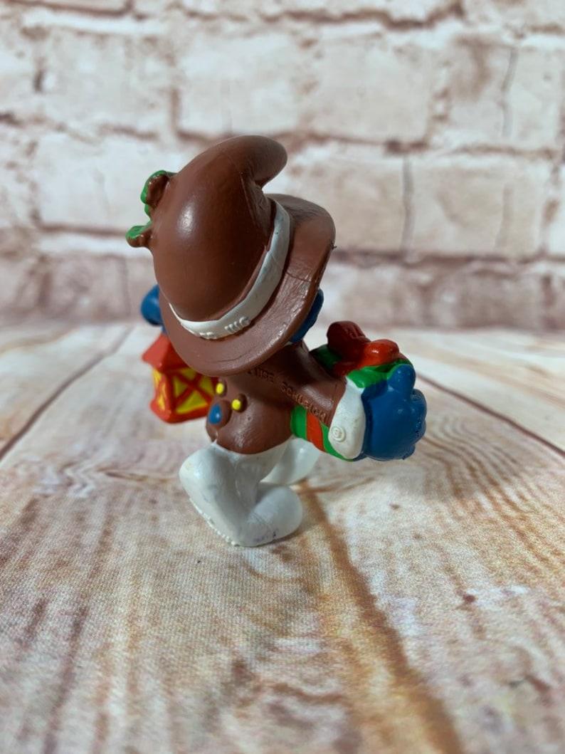 Vintage 1984 Christmas Lantern Smurf Mini PVC Miniature Action Figure Peyo Toys Figurine from Portugal Rare