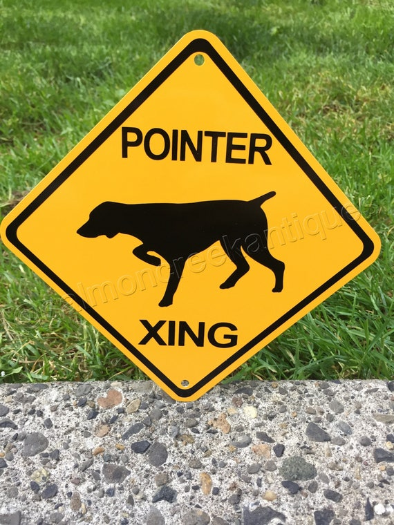 """RETRIEVER XING Small Metal Caution Dog Crossing Sign 6""""x6"""" NEW"""