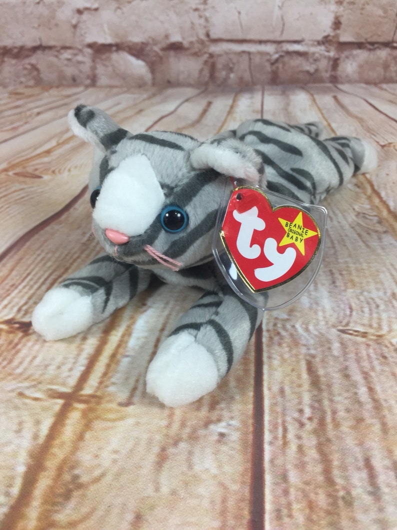 f90d8fc7810 Vintage 1997 TY Prance the Cat Grey Striped Plush Stuffed