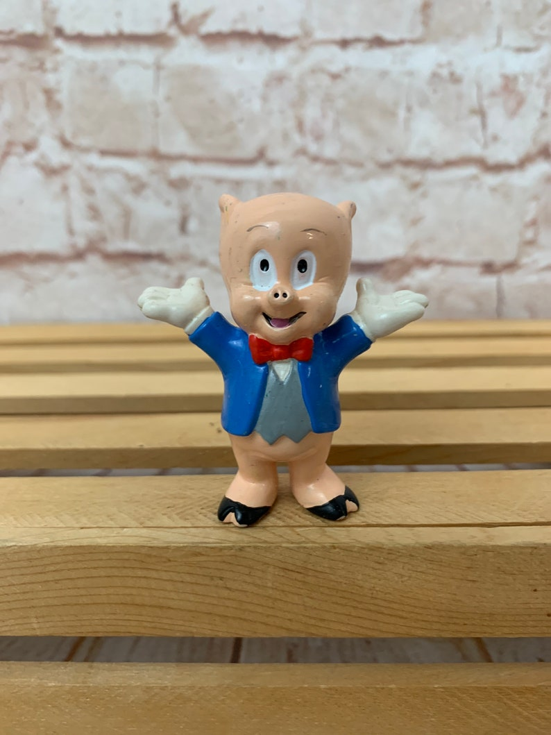 Vintage 1990 Porky Pig showtime PVC Figure Toy by Applause Looney Tunes Warner Bros