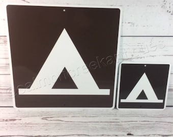 """Tent Camping Mini Metal Home Street Campsite Sign 6""""x6"""" or 12""""x12"""" NEW (2 sizes available)"""