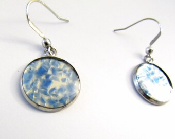 Blue Glass Earrings, Floating Glass Earrings, Upcycled Glass Earrings, Women's, Recycled, Cobalt Blue, Beer Bottle, Eco Druzy