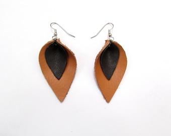 Tan and Black Leather Petal Earrings, recycled earrings, large, teardrop, petal, double earrings, tan leather, Recycled, Women's