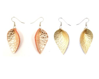 Rose Gold or Yellow Gold Leather Petal Earrings, metallic, repurposed leather, gift