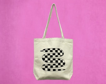 Checkered Snake Tote Bag