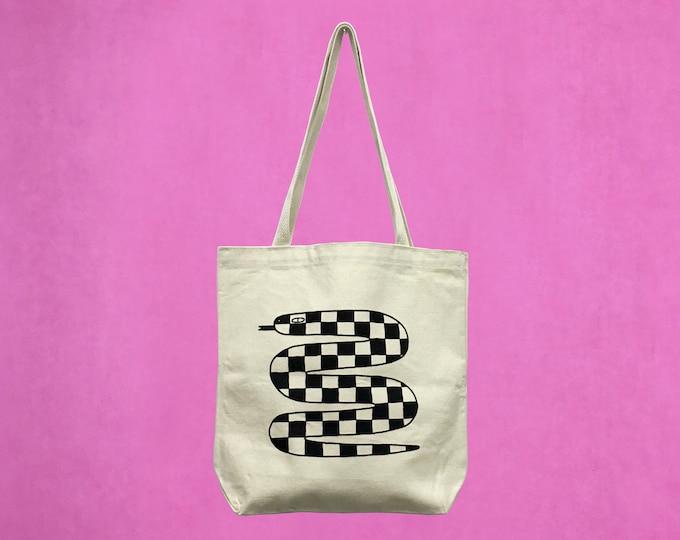 Checkered Snake Tote Bag