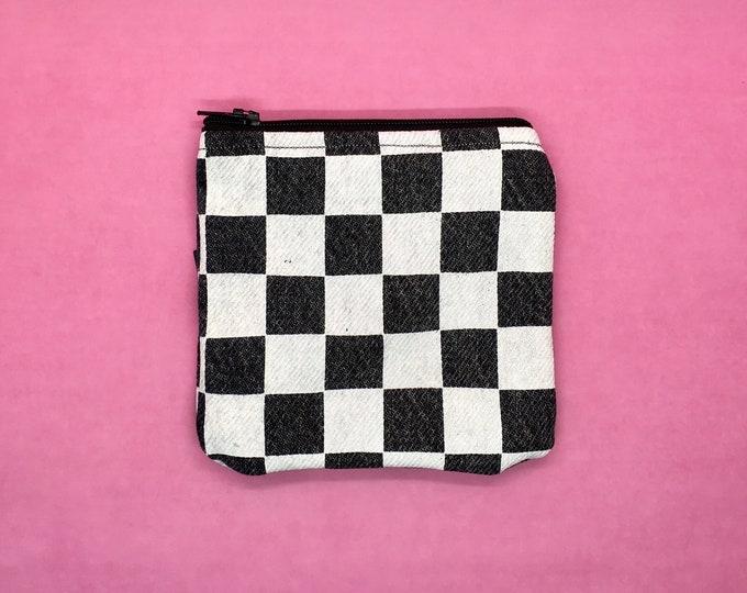 Checkered Zipper Pouch