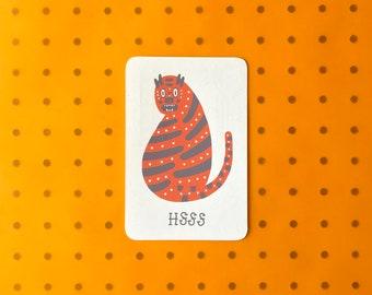 Screenprinted Postcard - HSSS Tiger