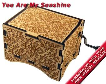 "Damask Music Box, ""You Are My Sunshine"", Laser Engraved Wood Hand Crank Music Box"