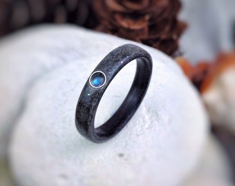 Ocean Empress - Labradorite, Fossilized Shark Tooth & Ebony Bent Wood Ring - Made to order - All US and UK Ring Sizes