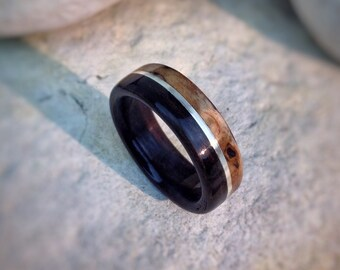 Ebony & Masur Birch with Sterling Silver Inlay Bent Wood Ring - Made to order - All US and UK Ring Sizes