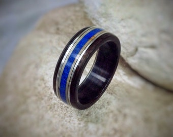 Azure Deep - Lapis Lazuli, Sycamore & Sterling Silver Bent Wood Ring - Made to order - All US and UK Ring Sizes