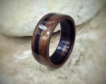 Walnut Wood & Ebony Bent Wood Ring - Made to order - All US and UK Ring Sizes