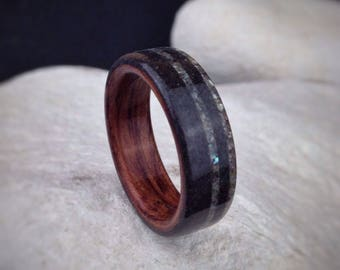 Earthsunder - Icelandic Lava Rock, Abalone & Bubinga Bent Wood Ring - Made to order - All US and UK Ring Sizes