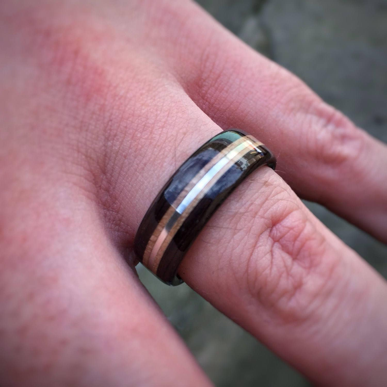 Ebony, White Ebony & Sterling Silver Bent Wood Ring - Made to order ...