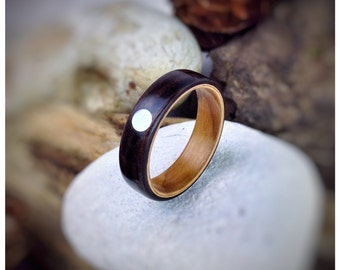 Ebony & Mother of Pearl Bent Wood Ring - Made to order - All US and UK Ring Sizes