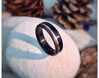 Ebony & Walnut with Sterling Silver Inlay Bent Wood Ring - Made to order - All US and UK Ring Sizes