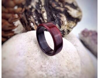 Padauk & Ebony Bent Wood Ring - Made to order - All US and UK Ring Sizes