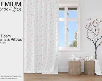 Kids Room| Kids Room Curtains Mockup | Photoshop Curtains Mockup |Baby Room  | Curtains And Pillows Mockup | Kids Room Curtains And Pillows