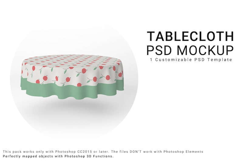 Round Tablecloth 3D Mockup | Table Cover | Kitchen Table | Dining room  Textile Mockup | Kitchen Textile Mockup | Kitchen Tablecloth
